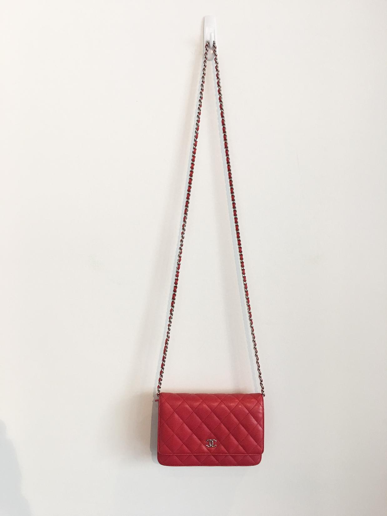 chanel caviar classic quilted woc red cross body bag