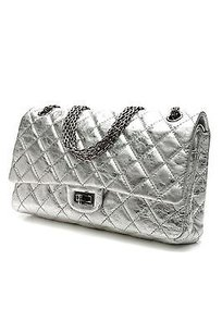 Chanel Quilted Calfskin Reissue 226 Double Flap Satchel in Metallic silver