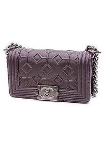 Chanel Crystal Embossed Satchel in Plum (Dark Purple)