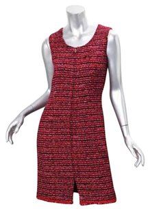 Chanel short dress Red Womens Wool Tweed on Tradesy