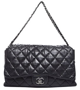 Chanel Black Lambskin Maxi Accordion Flap Shoulder Bag