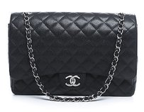 Chanel Black Caviar Maxi Double Flap Shw Shoulder Bag