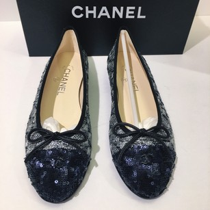Chanel Silver Black Blue Flats