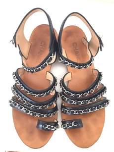 Chanel Chain Flats Silver Sandals