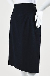 Chanel Navy Boiled Wool Cc Skirt Blue