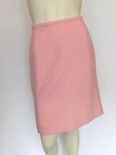 Chanel Brocade Wool Skirt Pink