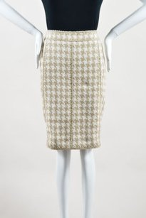 Chanel 08p White Silk Skirt Taupe