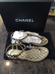 Chanel 15s Metallic Crackle Gold Pumps