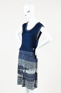 Chanel short dress Blue Navy Metallic Gray on Tradesy