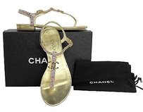 Chanel Patent Gold Sandals