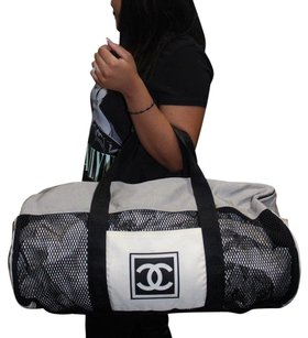 Chanel Travel Cc Duffle Gym Black / Grey / White Travel Bag