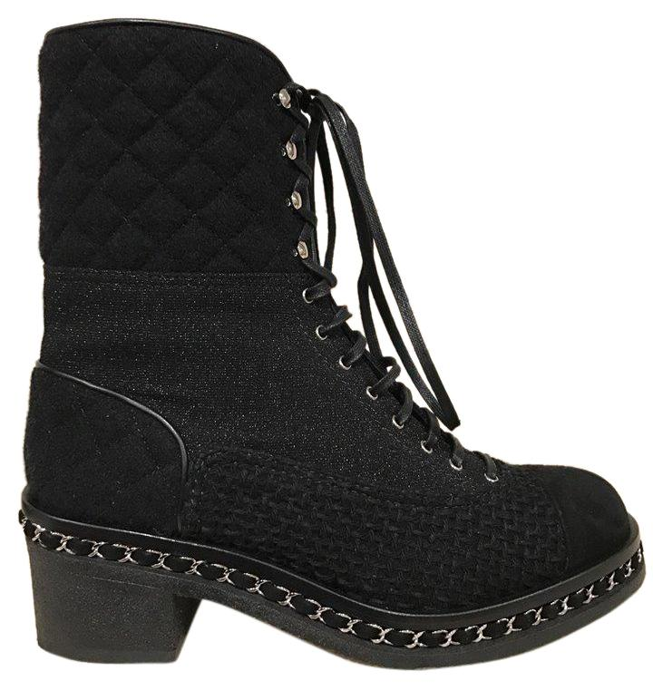 chanel quilted boots. chanel tweed glitter quilted chain black boots