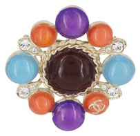 Chanel Vintage 2007 Fall Collection Chanel Turquoise, Purple, Coral & Crystal Glass Bead Brooch