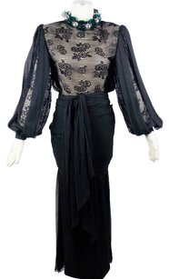 Chanel Vintage AMEN WARDY For CHANEL Amazing Chiffon Silk French Lace Gown wi