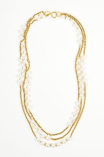 Chanel Vintage Chanel Gold Tone Faux Pearl Long Multi Strand Chain Necklace
