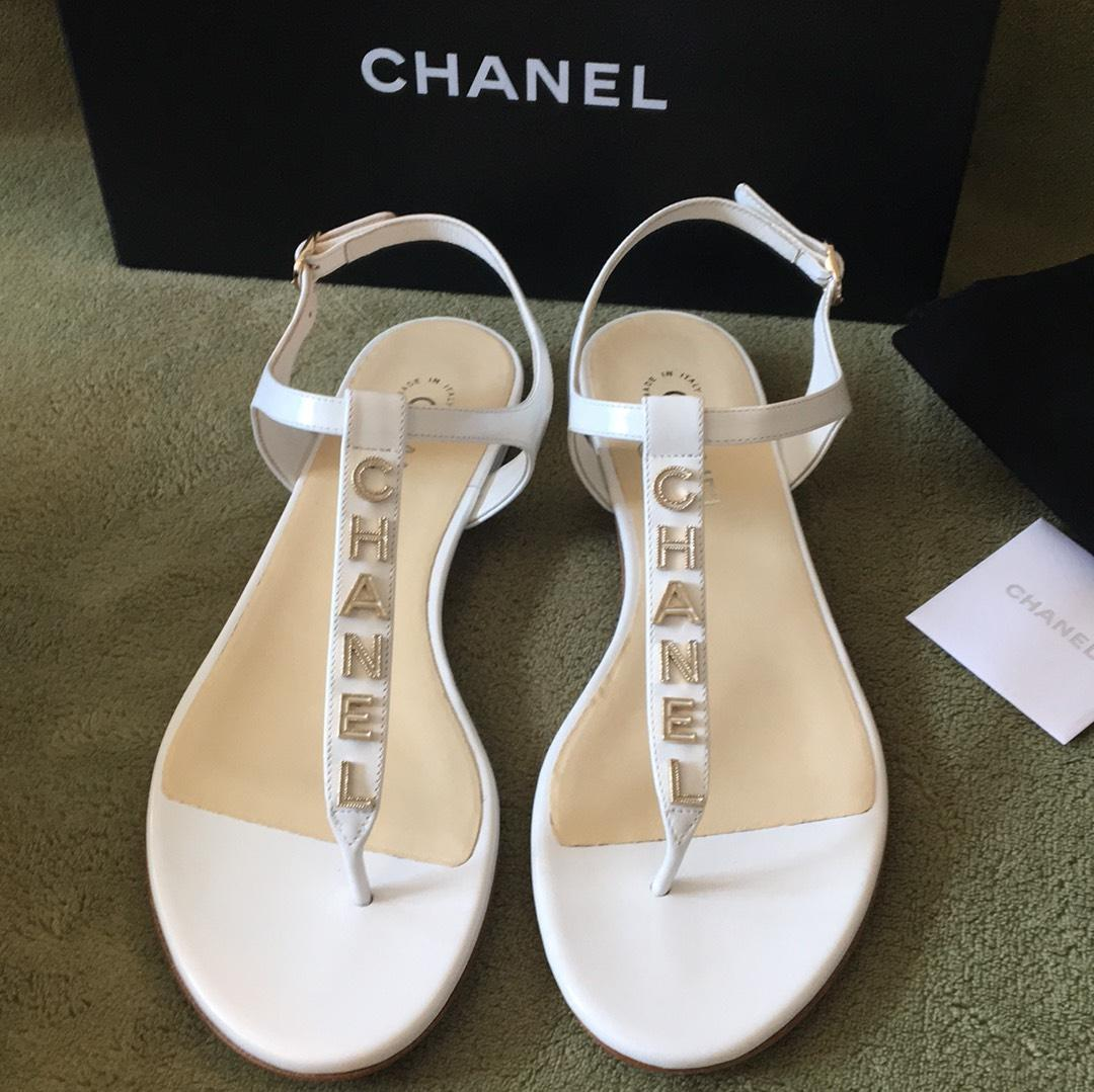 chanel thong platinum white sandals on sale  30  off