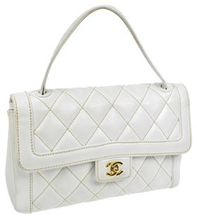Chanel Wild Stitch Quilted Cc Tote in White