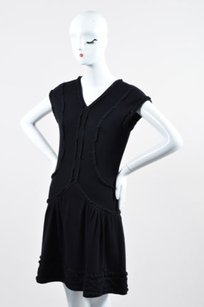 Chanel short dress Black Wool Cashmere Drop on Tradesy