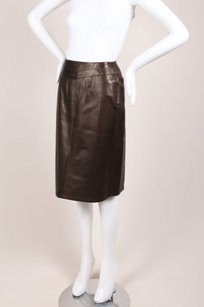 Chanel 99a Leather Wrap Skirt Brown