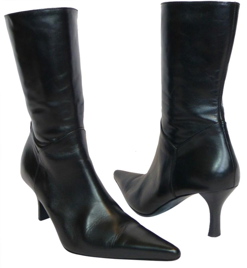 charles david pointed toe ankle black boots on sale 72