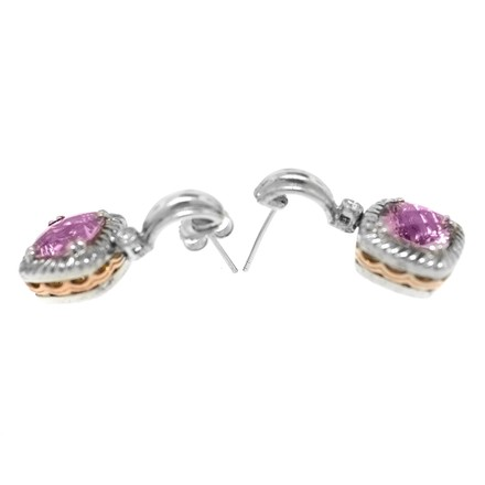 Charles Krypell Charles Krypell 14K Rose Gold Silver and Diamond Pink Topaz Earrings