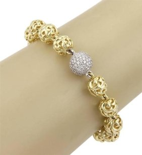 Charles Krypell Charles Krypell 18k Yellow Gold 9mm Ivy Ball Diamonds Toggle Bracelet