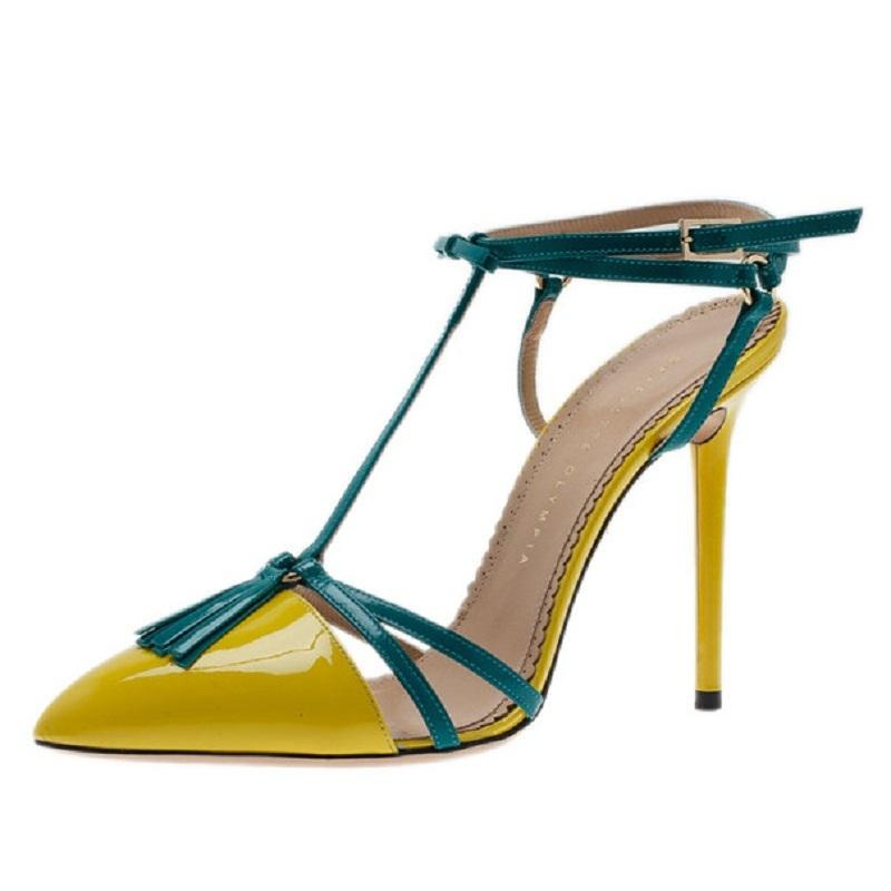 Charlotte Olympia Blue Yellow Neon Patent Trixie T-strap Sandals Size EU 40 (Approx. US 10) Narrow (Aa, N)