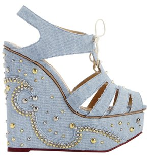 Charlotte Olympia Luxury London European Resort Spring Summer Artsy Party Boho Bohemian Rocker Retro Punk Polished Glam Chic Posh Love Blue Wedges