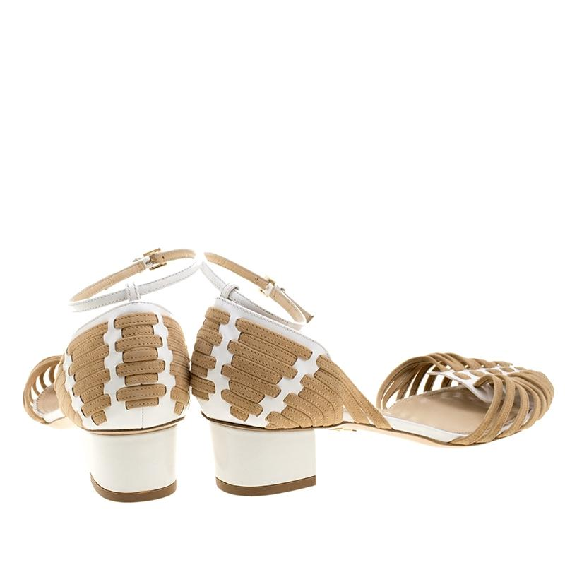 the best attitude 9aaa1 4a85d ... Charlotte Charlotte Charlotte Olympia White Two Tone Leather and Suede  Ranchera Woven Ankle Stra Sandals Size ...