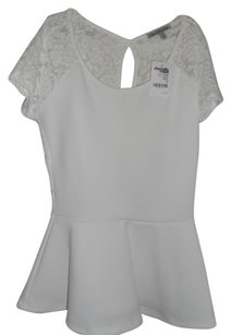 Charlotte Russe Peplum Lace Top White