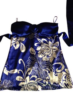 Charlotte Russe Print Silky Tie Around Back Top Blue and white