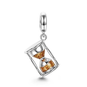 Other 925 Sterling Silver Dangle Golden Time Hourglass