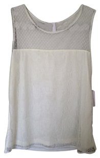 Charming Charlie Sleeveless Mesh Lace Top White