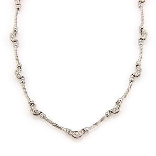 Charriol Philippe Charriol 18k White Gold Diamond Moon And Cable Link Designer Necklace