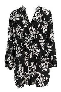 Charter Club Floral Womens Top black