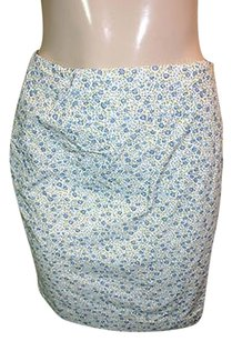 Charter Club White Floral Print 100 Casual Wrap Skirt Blue