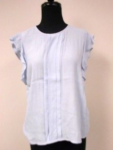 Chelsea28 Pale Ruffle Cap Sleeves Solid Pleated Front V649 Top Blue