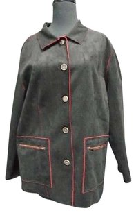 Chico's Suede Feel Red Trim Casual Long Basic Button Down 6098a Coat