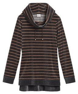 Chico's Velour Striped Comfortable Sweatshirt