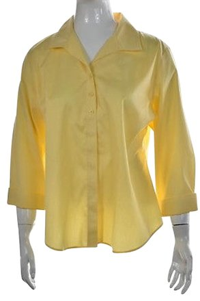 9860c1624c71bb 85%OFF Chico s Chicos Womens Yellow Button Down Solid Cotton Casual Shirt  Top