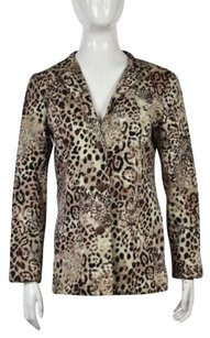 Chico's Chicos Womens Beige Animal Print Blazer 1 Cotton Long Sleeve Casual Jacket
