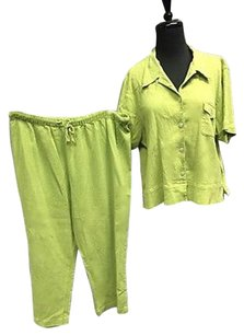Chico's Chicos Green 100 Cotton Casual Short Sleeve Top W Cropped Pants Set 3306a