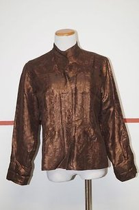 Chico's Chicos Brown Bronze Silk Lined Button Front Mock Neck Blazer Shirt 1 23936