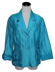 Chico's Chicos Womens Blue Blazer 1 Linen Basic Jacket 34 Sleeve