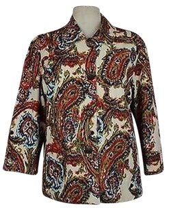 Chico's Chicos Womens Multi-color Printed Blazer 34 Sleeve Cotton Blend