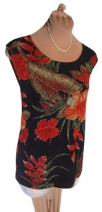 Chico's Clean Attractive Stretchy Top BLACK RED FLORAL KNIT #3 XL