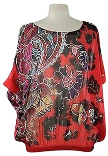 Chico's Womens Red Floral Short Sleeve 100 Silk Shirt Top Multi-Color