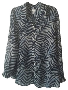 Chico's Zebra Top blue
