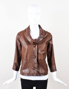 Chloé Chloe Leather Cropped Brown Jacket