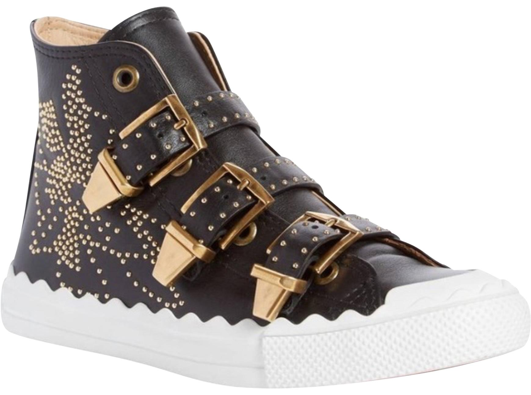 Chloé Black and Gold Kyle Studded Leather Sneakers Sneakers Size US 11 Regular (M, B)